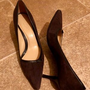 Loft By Ann Taylor Brown Suede And Leather Pump